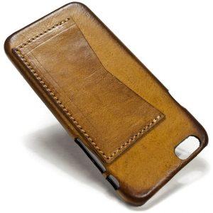 Iphone 6 Back Leather Case One Horizontal Slot Camel