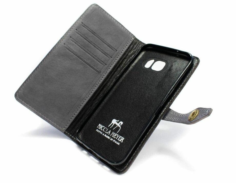Samsung Galaxy S7 EDGE Leather Case, Light Grey, Open