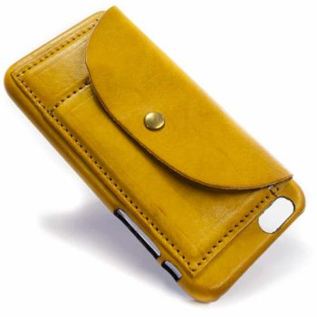 iPhone 7 Leather Back Case, Yellow, by Nicola Meyer
