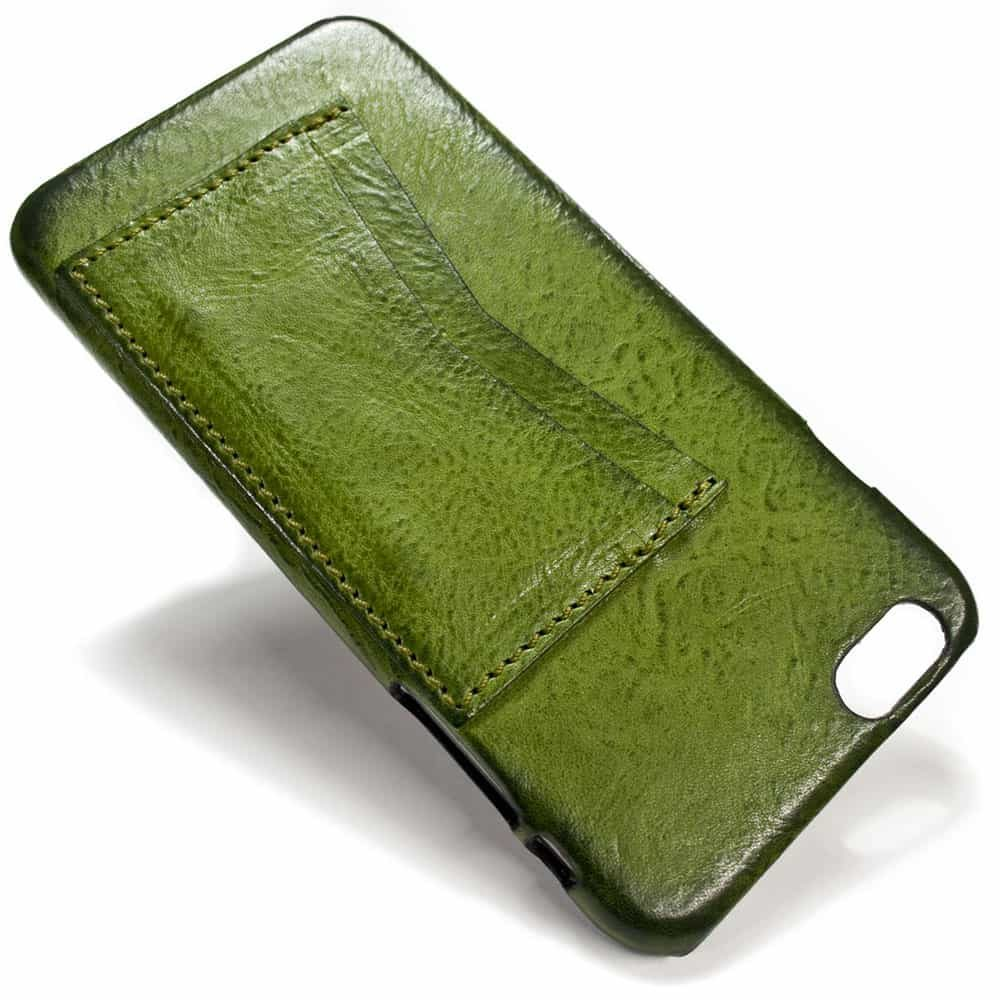 iPhone 6 Plus Leather Back Case Two Credit Card Slots, Olivegreen, by Nicola Meyer