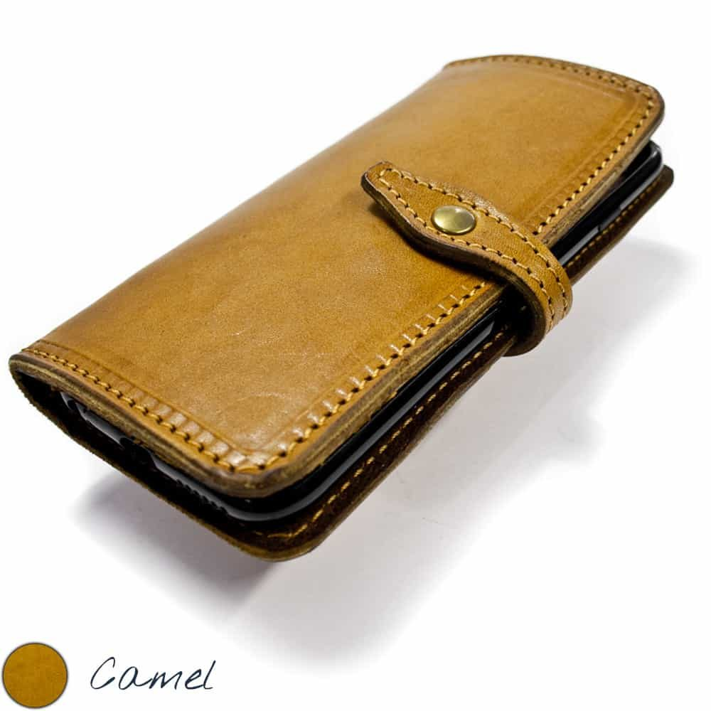 iPhone 7 and 6s Leather Wallet Bifold Book Case, Camel, by Nicola Meyer