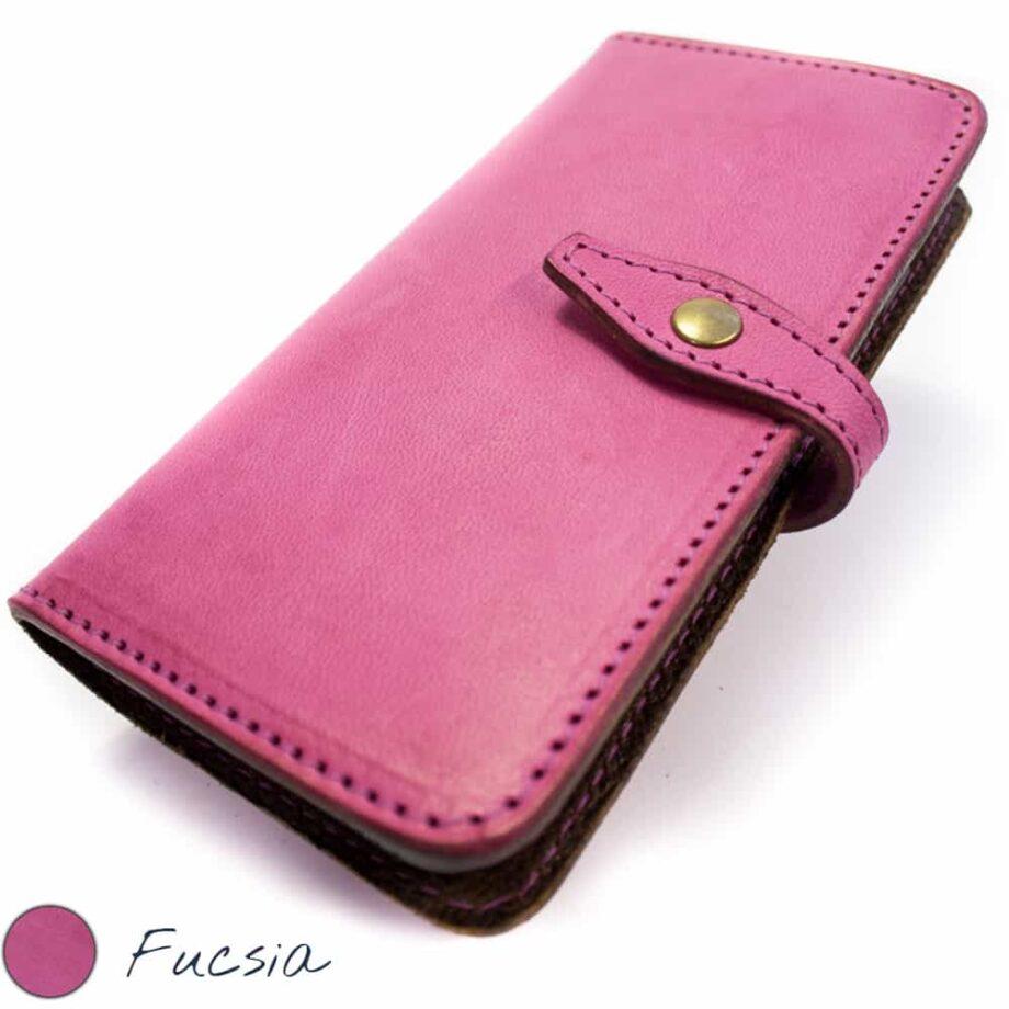 iPhone 7 et 6s Leather - Étui à livre à deux volets en cuir, Fucsia, par Nicola Meyer