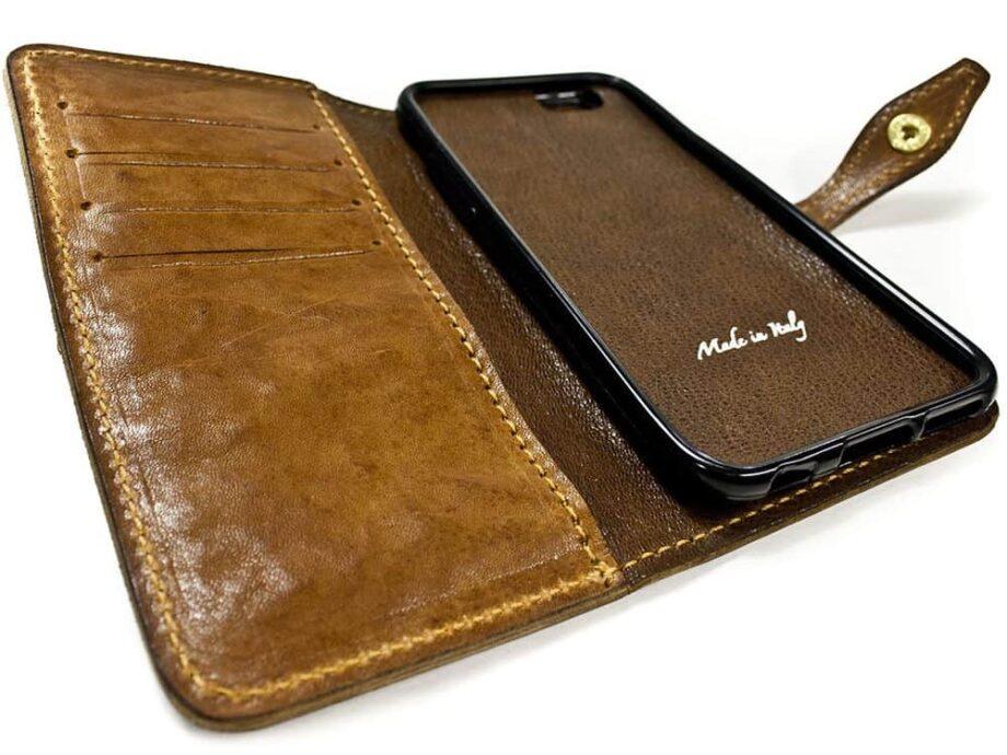 iPhone 7 Leather Flip Book Case, Détail fait à la main