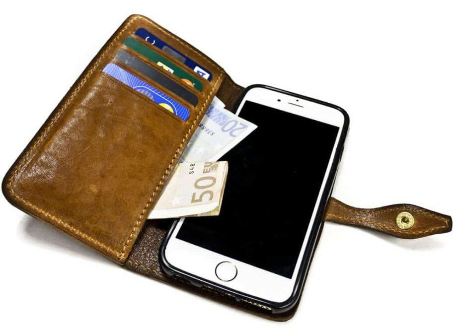 iPhone 7 Leather Flip Book Case, Open