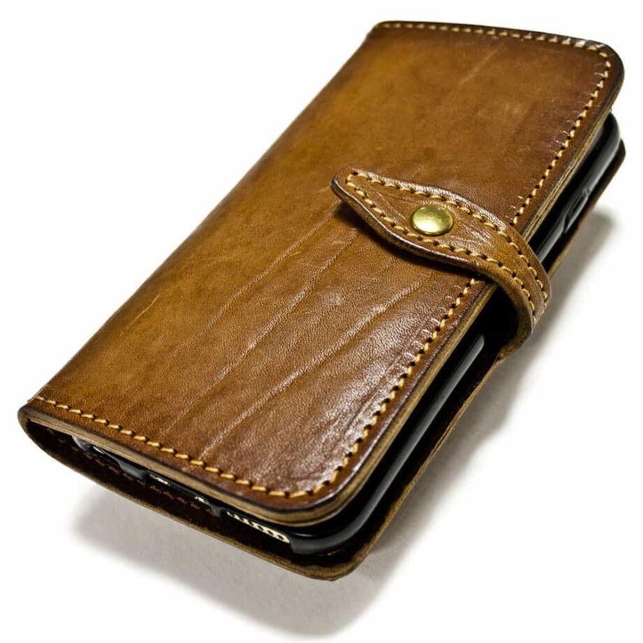 iPhone 7 Leather Flip Book Case, Handmade by Nicola Meyer