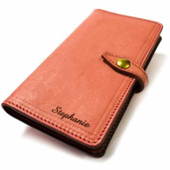 iPhone  6s  Plus Livre de conférence en cuir, Pink, Fait à la main par Nicola Meyer