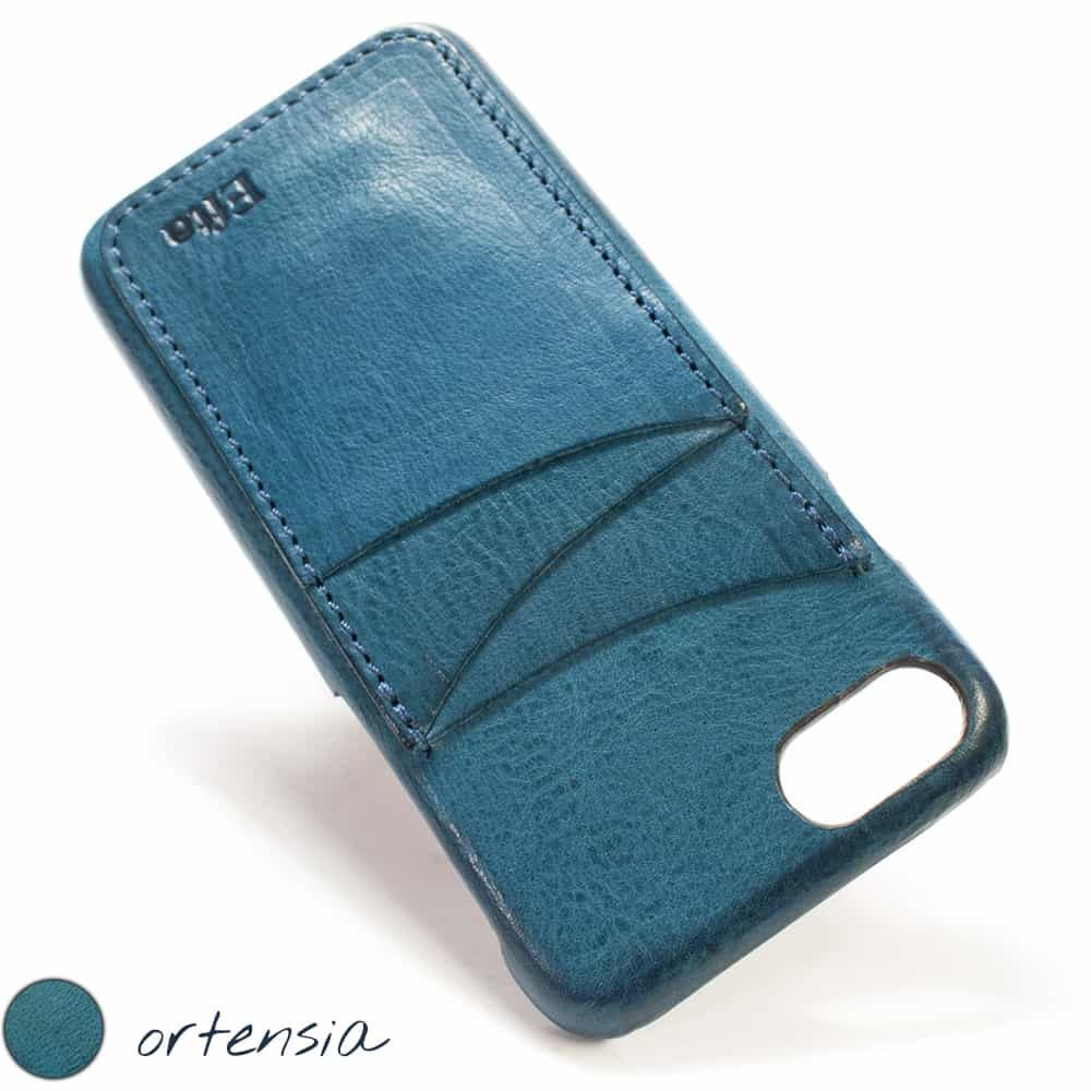 iPhone 7 Leather Back Case, Ortensia, 3 Vertical Slots, Made in Italy