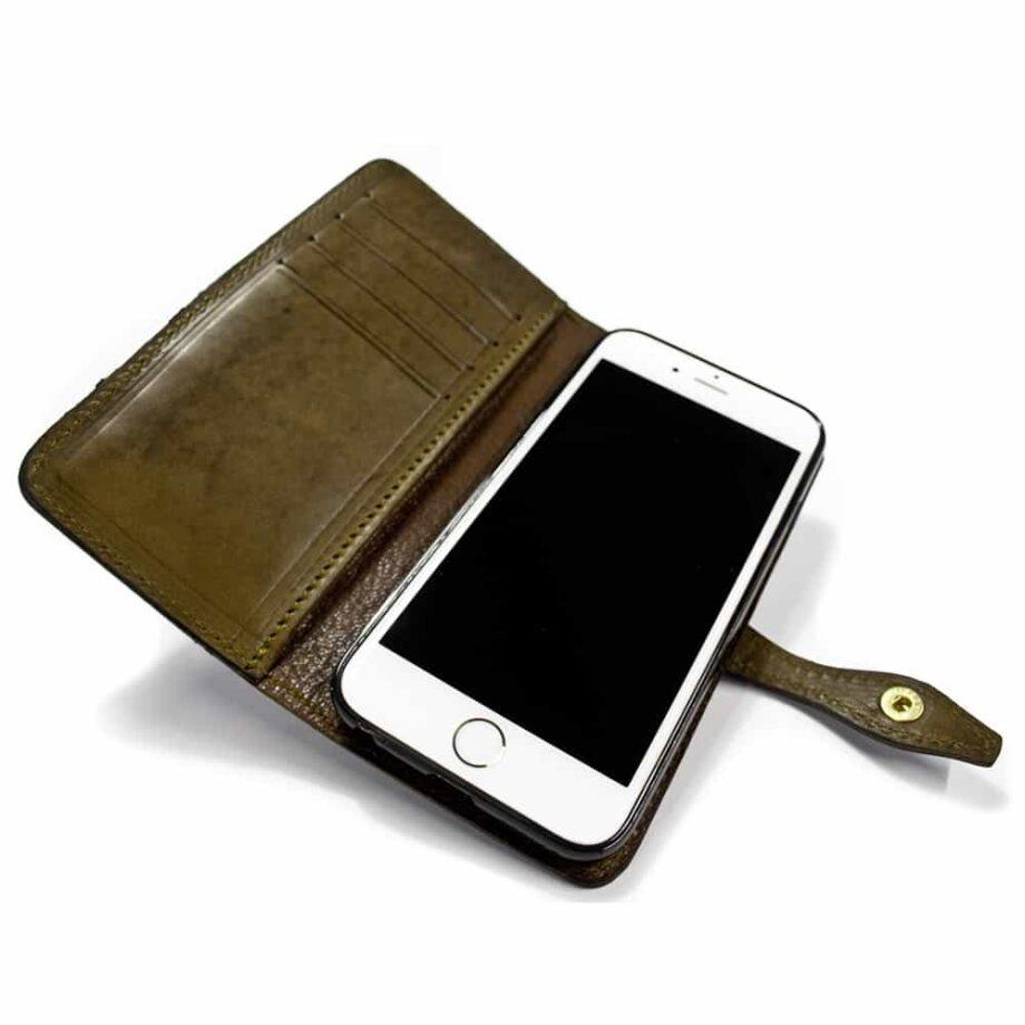 iPhone 7 - Couverture en cuir, rabat pliable, toundra, ouverte