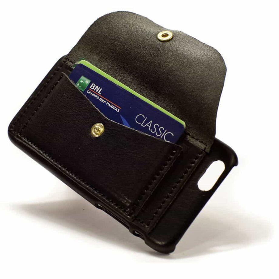 iPhone Leather Back Case, Credit Card, Black, Detail
