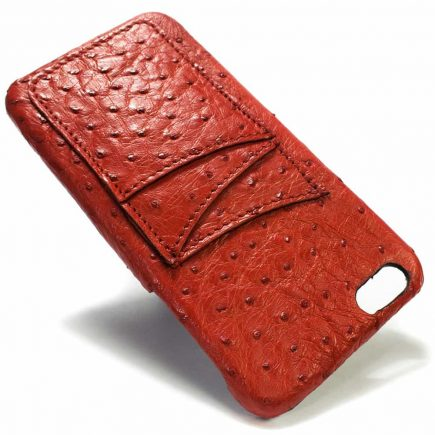 Crw 1034 Ip6plus 13 V Ostrich Red Genuine Ostrich Leather Iphone Case Nicola Meyer