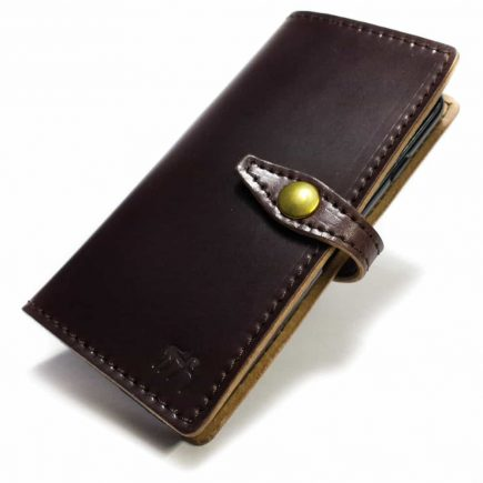 iPhone 7 Leather Flip Book Case, Shell Cordovan Burgundy, by Nicola Meyer