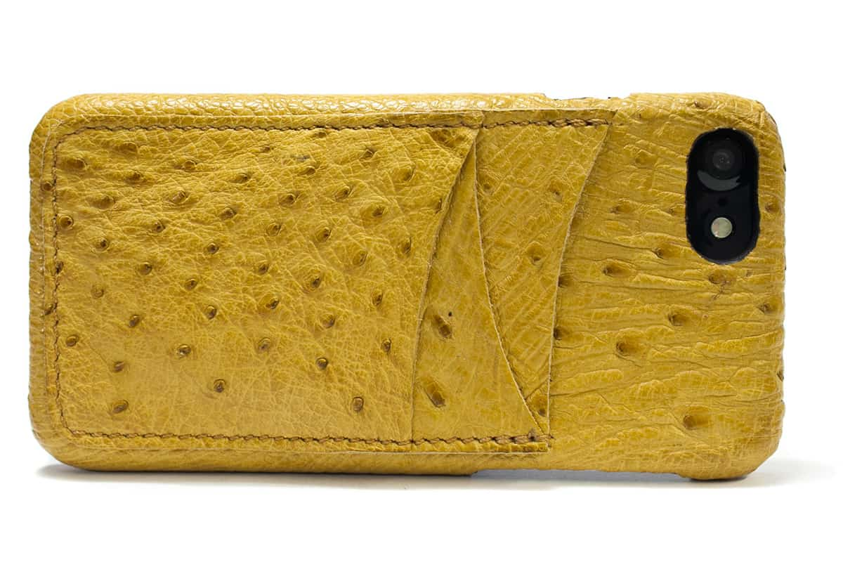 iPhone 7 Leather Back Case. Ostrich, Red, Battercup, Made in Italy