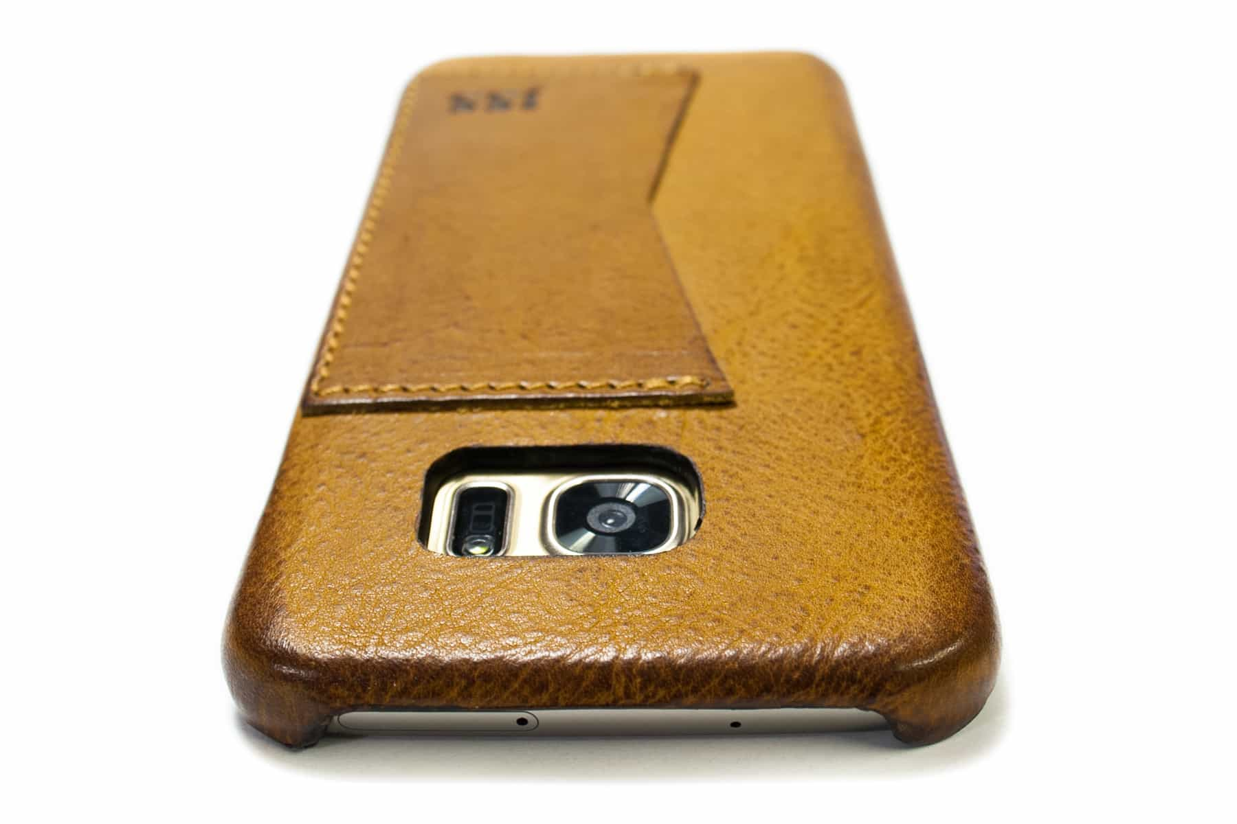 Samsung Galaxy S7 EDGE Leather Case, Camel, Camera Detail