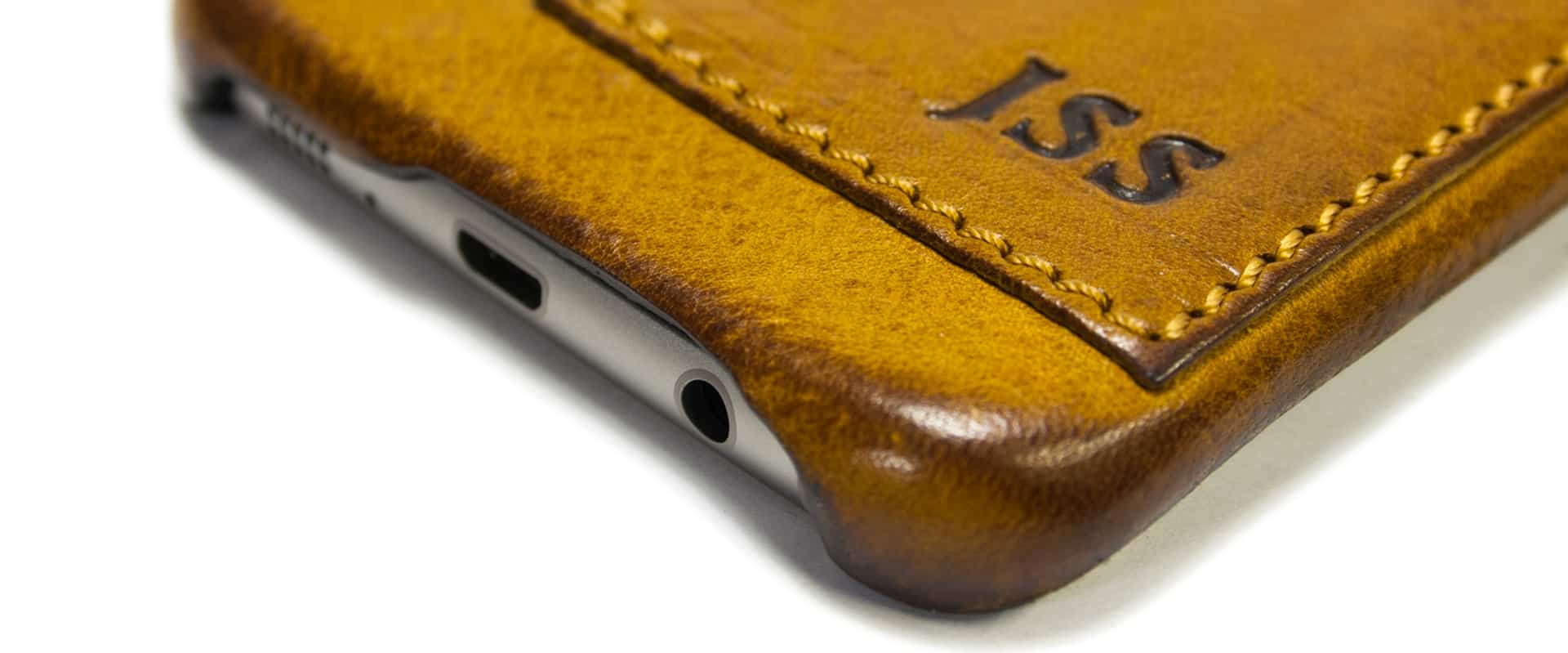 Samsung Galaxy S7 EDGE Leather Case, Camel, Detail