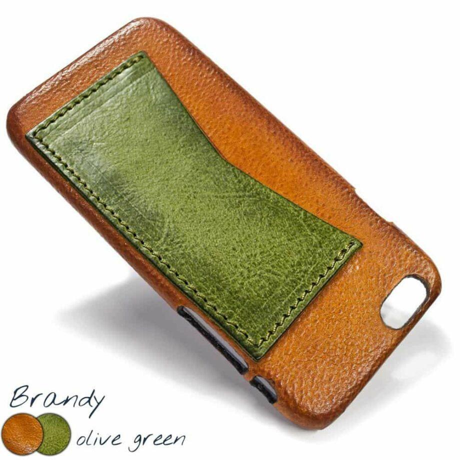 iPhone 7, 6s, SE, Etui en cuir, Brandy et  Olive Green avec fente