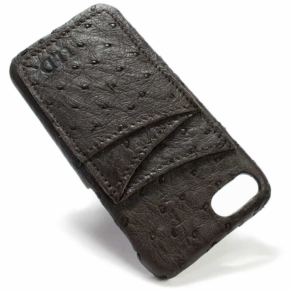 iPhone 7, Leather Case, Ostrich Nicotine, Made in Italy by Nicola Meyer