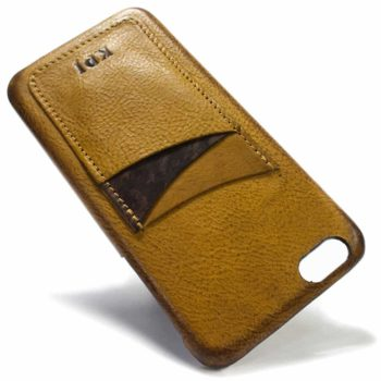 iPhone 6 Plus Camel Leather Back Case, Camel and Chocolate,Vertical Slot, by Nicola Meyer