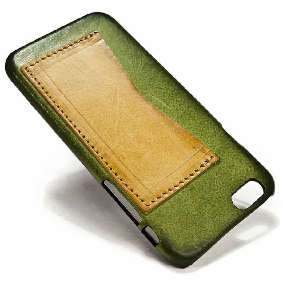 iPhone 7, 6s, SE, Leather Case, Olive Green Natural with Slot