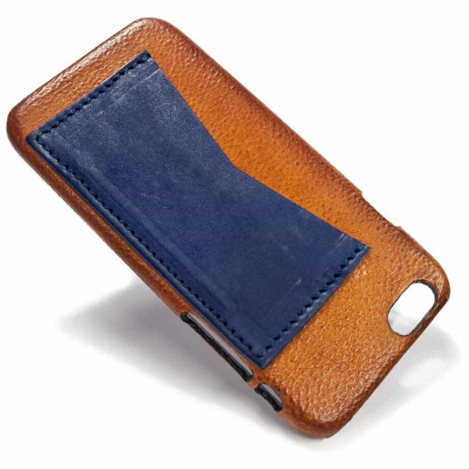 iPhone Etui arrière en cuir 6, Brandy et  Blue Navy, par Nicola Meyer