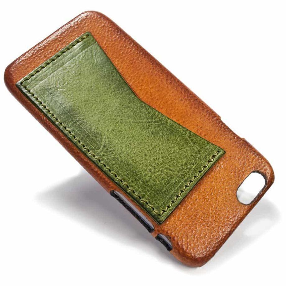iPhone Etui arrière en cuir 6, Brandy et vert olive, de Nicola Meyer