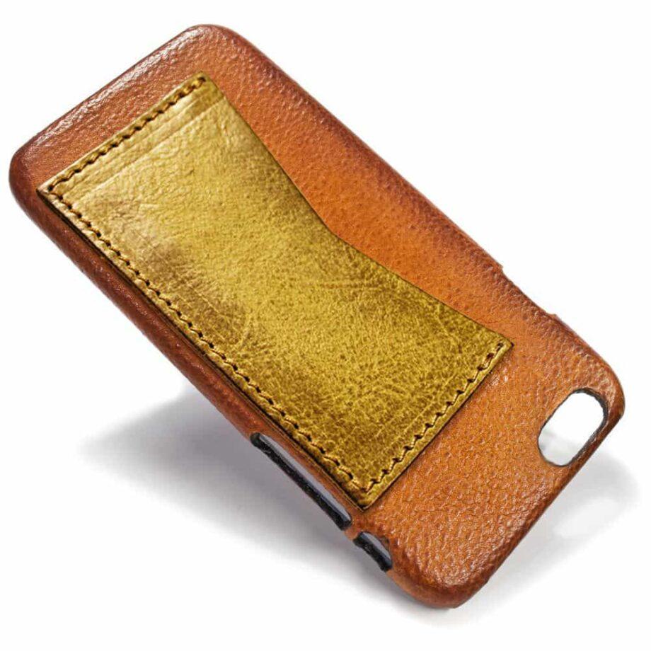 iPhone Etui arrière en cuir 6, Brandy et  Yellow, par Nicola Meyer