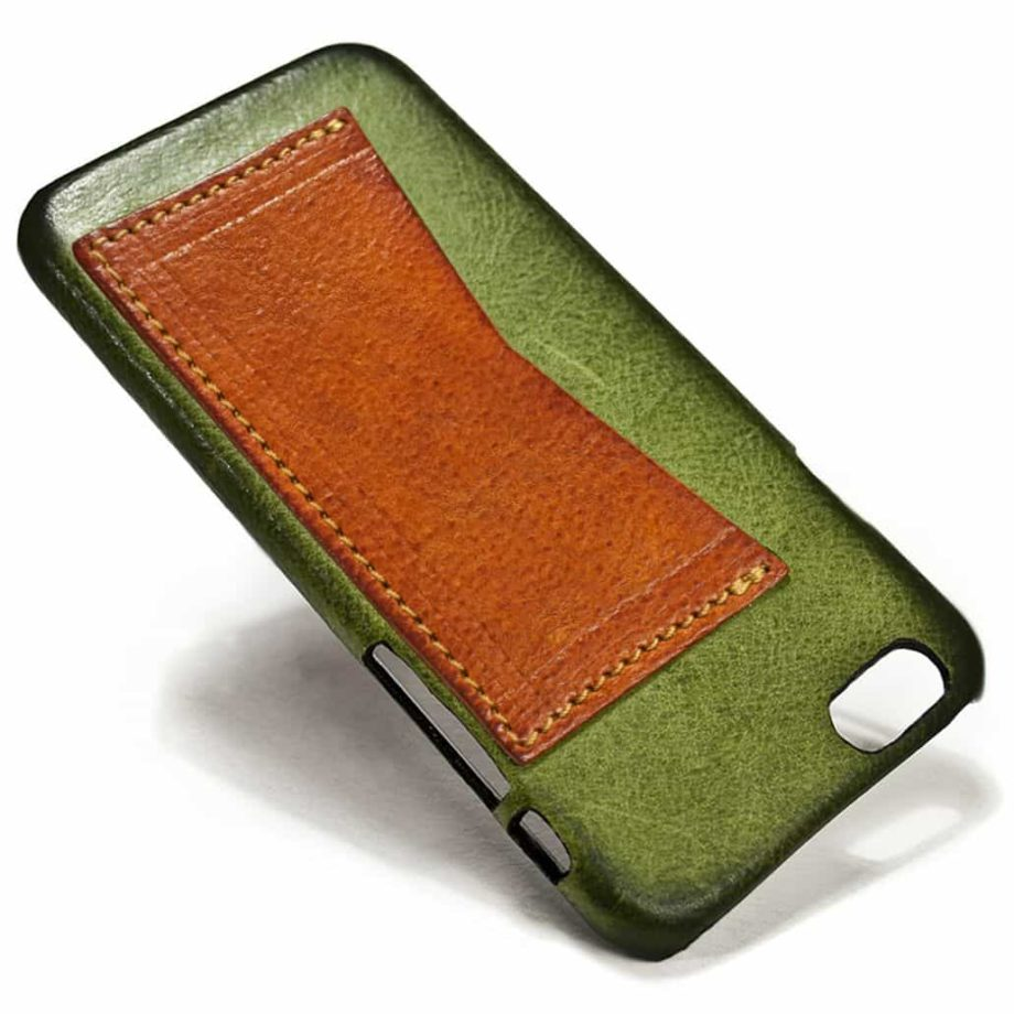 iPhone 6 Leather Back Case, Olivegreen and Brandy, by Nicola Meyer