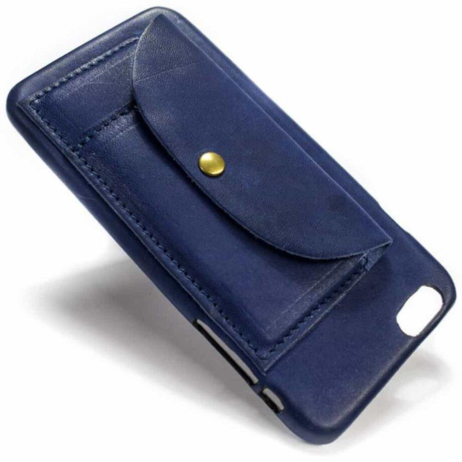 iPhone  6  Plus Étui en cuir, Blue Navy Squared, fabriqué en Italie