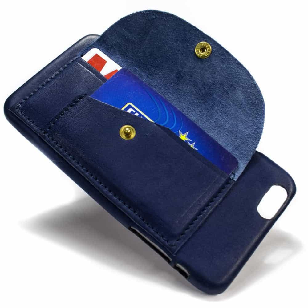 iPhone  6  Plus Étui en cuir, Blue Navy Carré, ouvert