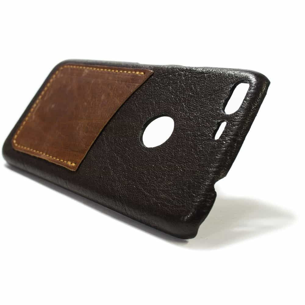 Google Pixel XL, Leather Case, Chocolate and Bruciato, One Card Slot, by Nicola Meyer