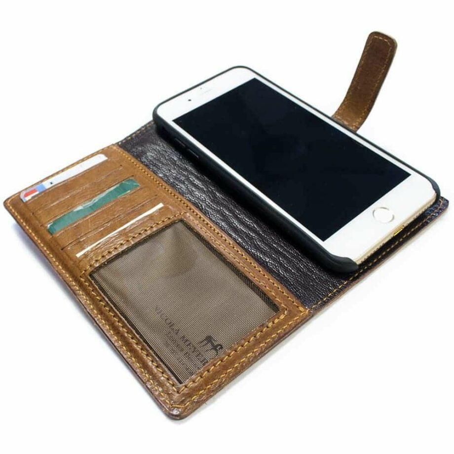 iPhone 7 Plus Leather Flip Book Wallet Case, Open