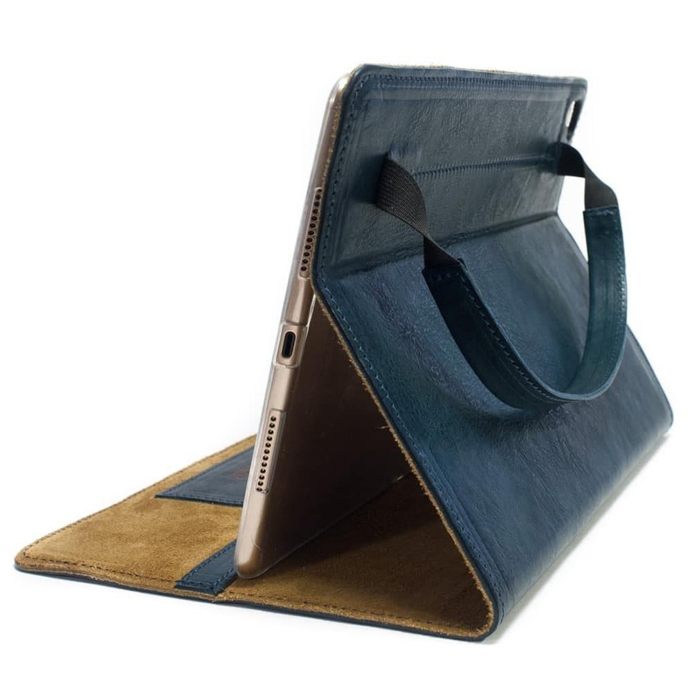 iPad Pro 9,7 Leather Cover Portfolio, Petroleum, Open