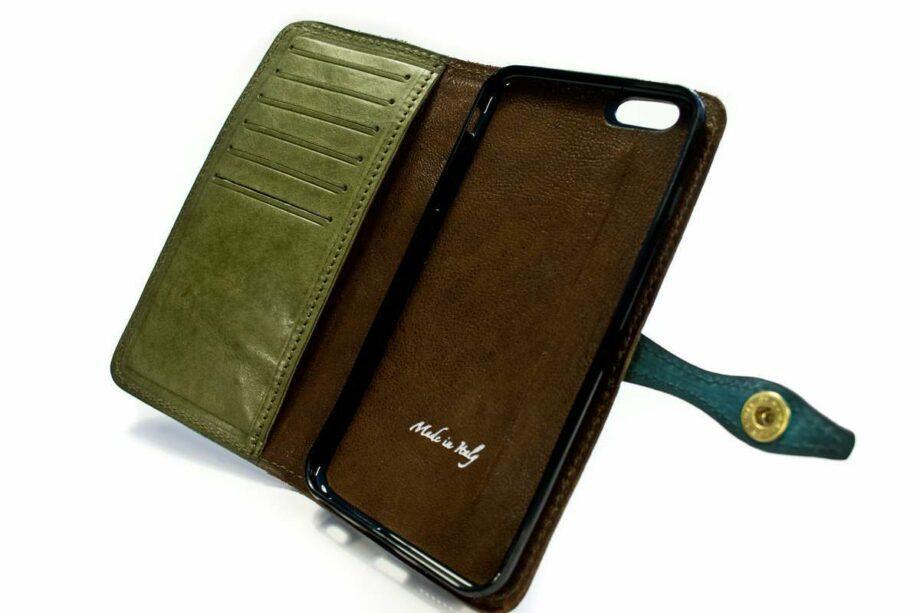 iPhone 7 - Étui à rabat en cuir, deux couleurs, ouvert