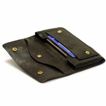 quadrillé Iphone X Etui en cuir fabriqué en Italie Nicola Meyer en cuir au tannage végétal Black