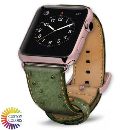 Icon 600x600 Watch Strap Ostrich Green Natural