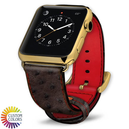 Icon 600x600 Watch Strap Ostrich Nicotine Red