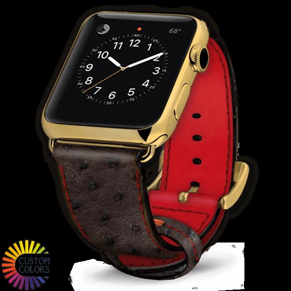 Icon 600x600 Watch Strap Ostrich Nicotine Red