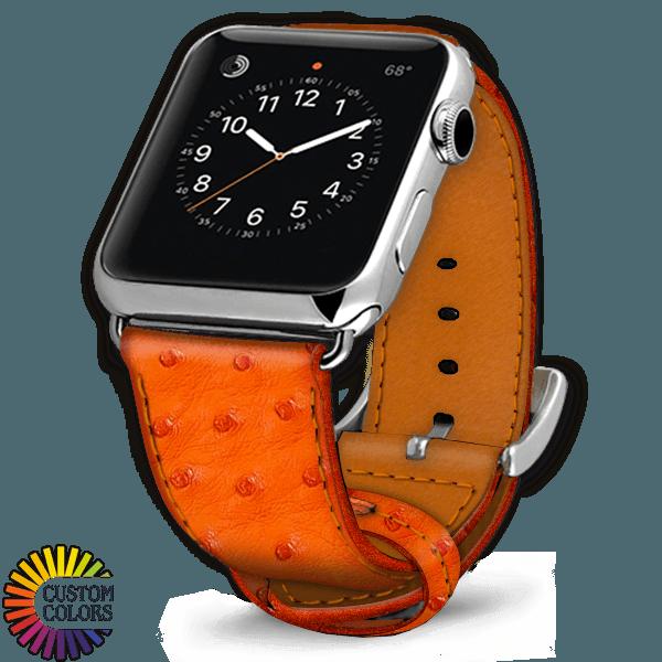 Icon 600x600 Watch Strap Ostrich Tangerine