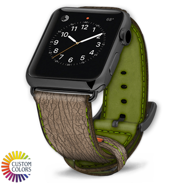 600x600 Custom Colors Leather Shark Apple Watch Strap Creme Green