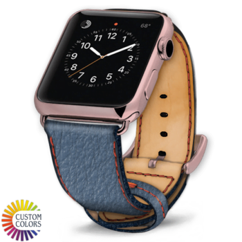 600x600 Custom Colors Leather Shark Apple Watch Strap Jeans Natural