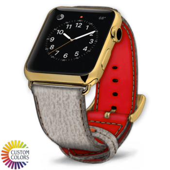 600x600 Custom Colors Leather Shark Apple Watch Strap Raw Red